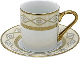 Porcelain China Espresso Turkish Coffee Demitasse Set of 6 Cups + Saucers Braided Border (Gold)