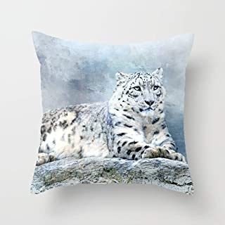 FJPT Throw Pillow Cover Snow Leopard Rest On Stone Cotton Pillowslip for Sofa Bed Stand Size Pillowcase 18x18 Inch