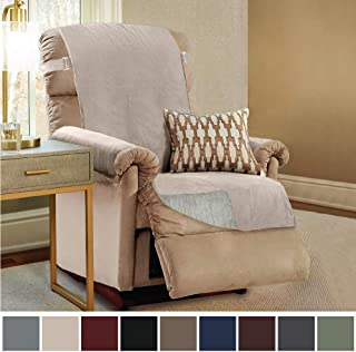 Gorilla Grip Original Slip Resistant Recliner Slipcover Protector, Seat Width Up to 26 Inch Suede-Like, Patent Pending, 2 Inch Straps, Hook, Furniture Cover for Kids, Dogs, Pets, Recliner, Taupe