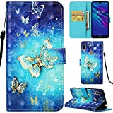 DodoBuy Huawei Y6 2019/Honor 8A Hülle 3D Flip PU Leder Schutzhülle Stand Handy Tasche Brieftasche Wallet Case Cover für Huawei Y6 2019/Honor 8A - Schmetterling Gold
