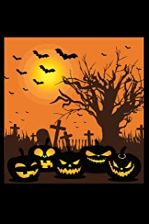 Journal: Happy Halloween Night Cemetery Bats Jack O'Lantern Pumpkins Black Lined Notebook Writing Diary - 120 Pages 6 x 9