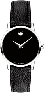 Movado Women's Rostfreier Stahl Quartz Fitness Watch with Leather Strap, Black, 15 (Model: 0607204)