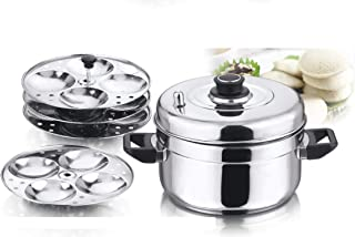 Vinod 4-Plate Idly Stand with Stainless Steel Idli Cooker, Makes 16 Idlys