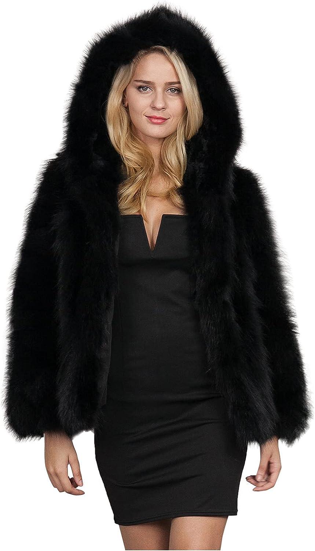 Rovga Womens Fuzzy Fleece Jacket Solid Open Front Hooded Loose F