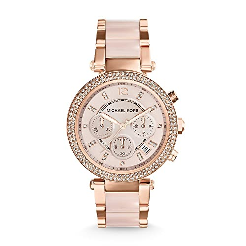 133387325336 Michael Kors Mid-Size Rose Goldtone and Stainless Steel Parker Three-Hand  Glitz Watch