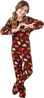 Big Feet Pjs Big Girls Kids Chocolate Brown with Pink Hearts (L Large)