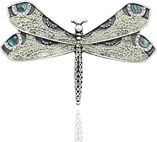 Retro Art Nouveau Victorian Dragonfly Simulated - Pearl Wing French Lapel Brooch Pin Badge