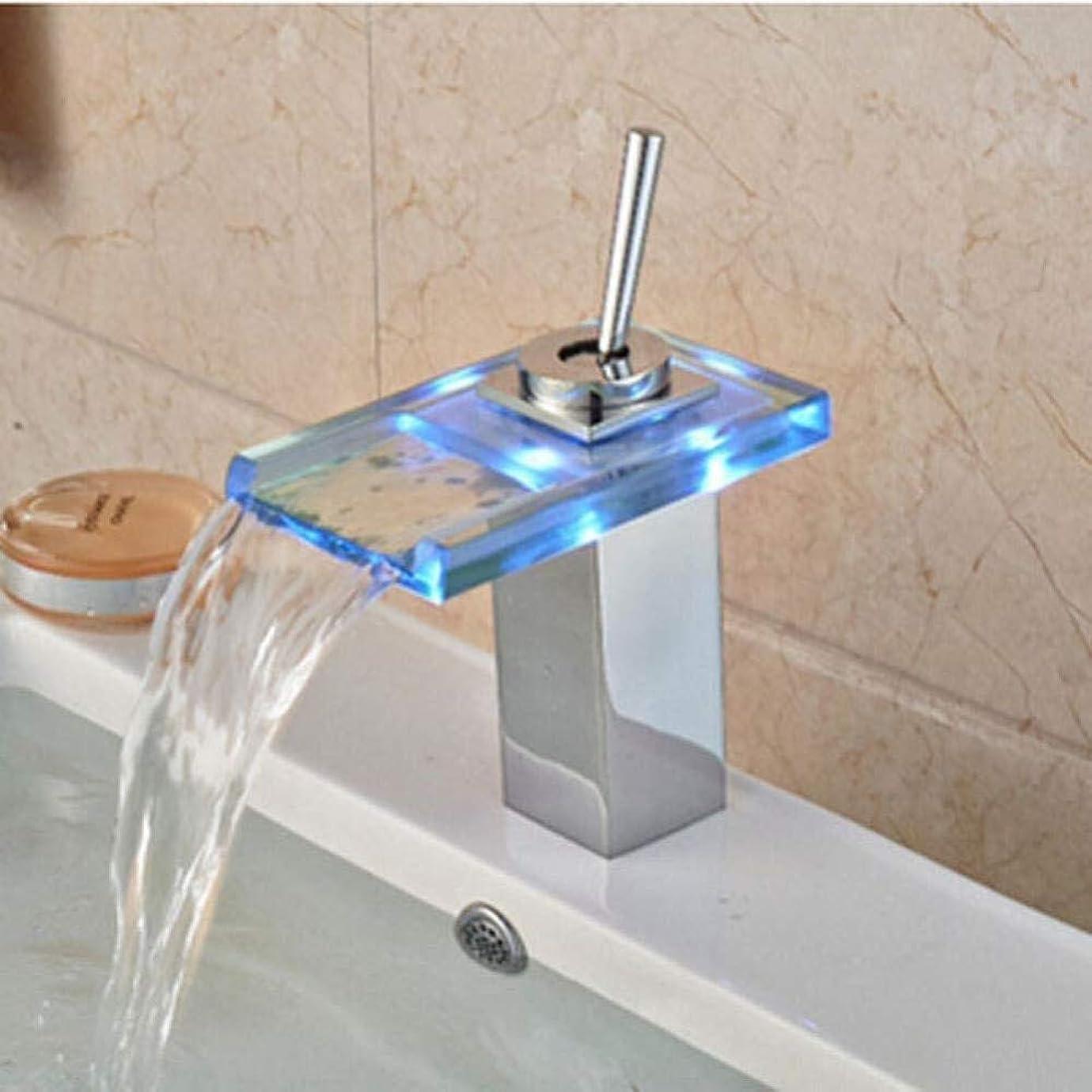 イブニングストリームゴミ箱を空にするキッチン浴室の蛇口の蛇口を導いたガラスの滝の浴室の洗面台の蛇口デッキがマウントミキサータップホット&コールドミキサータップ