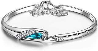 Brazalete, Zapatilla de Cristal, Chapada en Platino, Cristal Azul de Swarovski, Embalaje de Regalo, Regalo Mujer Navidad