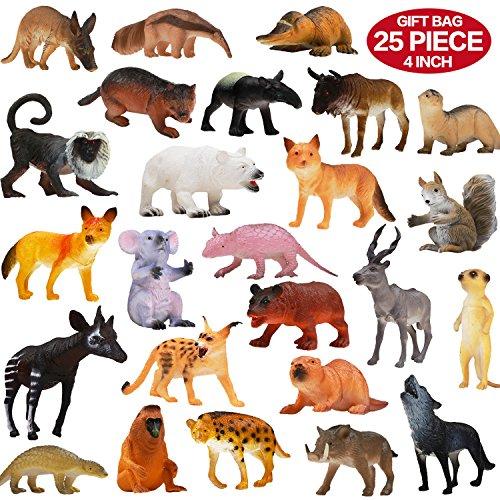 Figuras de Animales, Set de 25 Animales de Juguete de Aspecto Realista (10 cm), Animales Salvajes de la Jungla Educativos de Plástico Vinilo ValeforToy Para Niños y Niñas - Set de Animales del Bosque