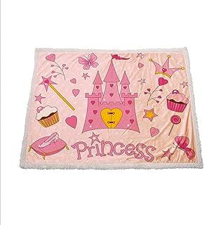Kids Soft Blanket Little Princess Tiara Slippers Fairy Castle Butterfly Heart Lollipop Wand Cupcake Girls Party Print Fleece Throw Blanket 60