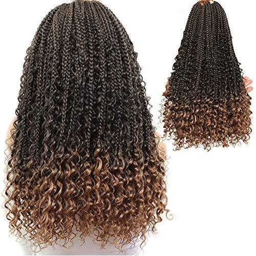 Box Braids Crochet Braids Curly Ends Goddess Box Braids Crochet Hair Synthetic Crochet Hair Extension (20 Inch, 1B/27)…