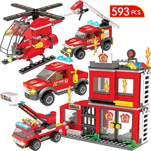 SLONG Bloques De Construcción De Modelos Compatibles Fuego Ladrillos Estación De Bomberos De La Ciudad De Camiones De Coches Juguetes Policía para Boy Niños