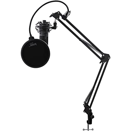 Audio-Technica AT2020USB+ Condenser Microphone with Knox Gear Shock Mount, Boom Arm, and Pop Filter