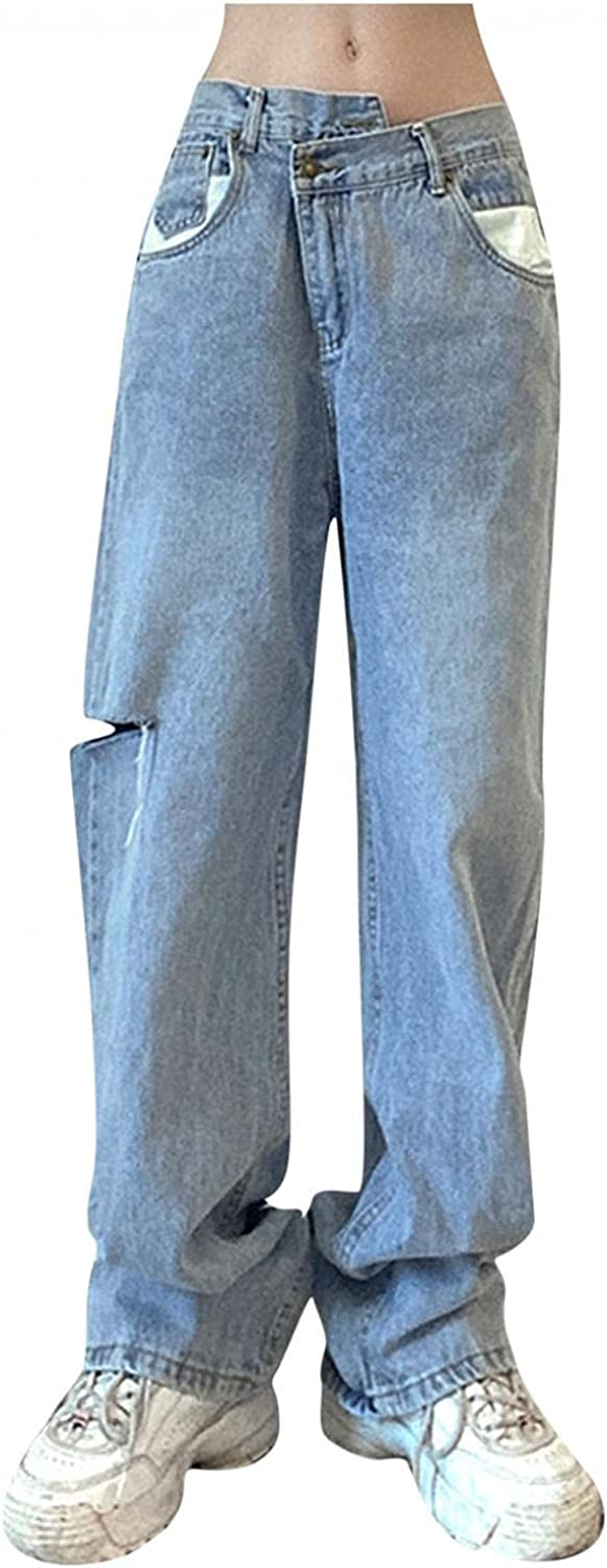 Jeans for Women High Waisted 2021 Autumn Stretch Baggy Straight Jeans Wide Leg Hole Denim Pants Streetwear