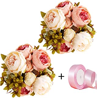 CEWOR 2 Pack Artificial Peony Silk Flowers Bouquet with Satin Ribbon for Home Bridal Wedding Party Decoration(Pink)