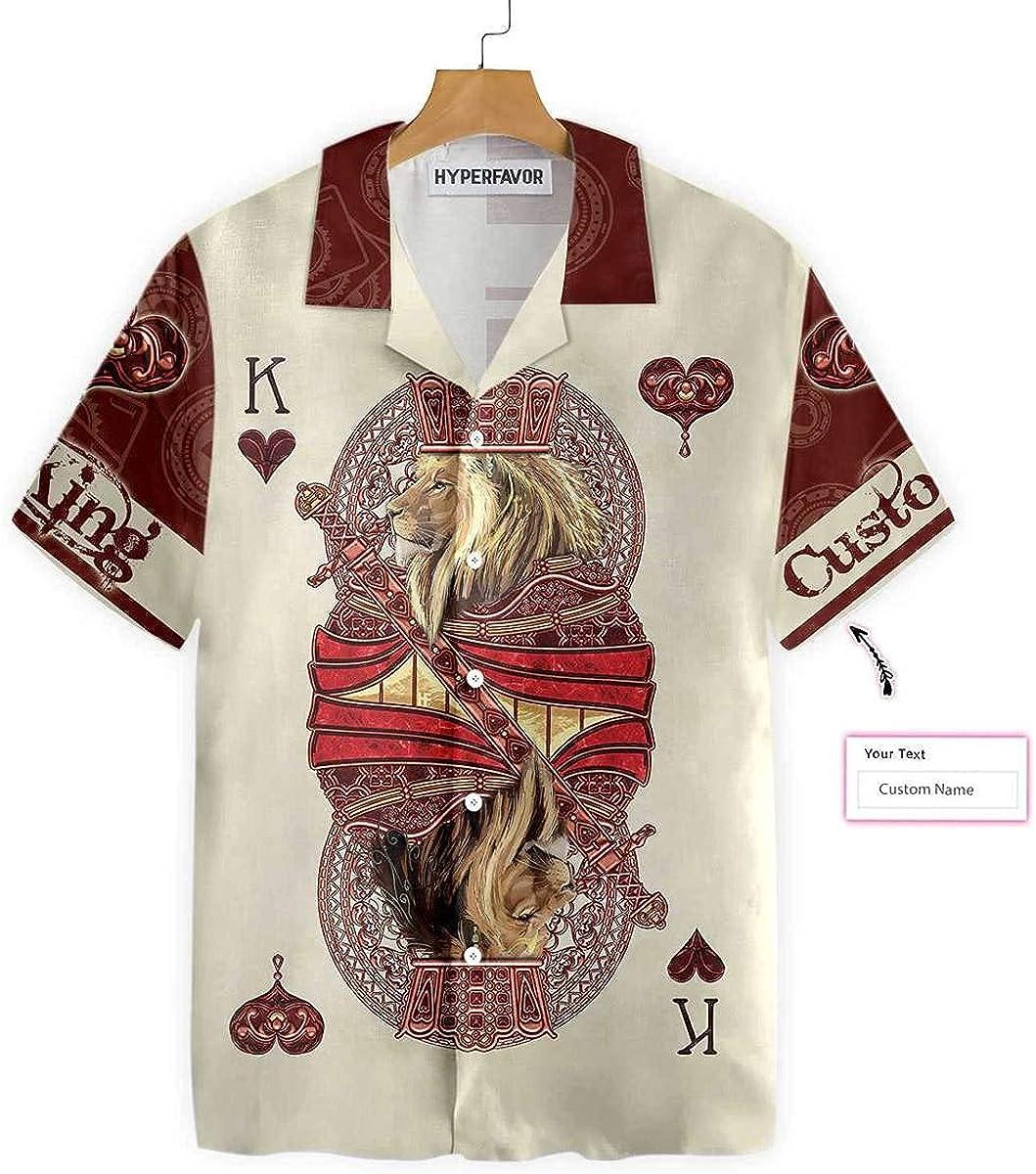 HYPERFAVOR Custom Casino Shirts for Men- Casual Short Sleeve Casino Poker Shirts- Casino Hawaiian Shirt Gift Ideas