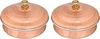 Set of 2, Copper Tableware Serving Bowl Indian Serveware Handi Set, Tureen Copper Stainless Steel Serving Dishes For Serving your favourite Dish with a Traditional Touch (No: 2 (15 cm))