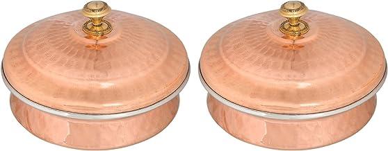 وعاء تقديم أدوات مائدة من النحاس Zap Impex مجموعة يدوية يدوية من الفولاذ المقاوم للصدأ من النحاس المصقول (13 سم) مجموعة من 2