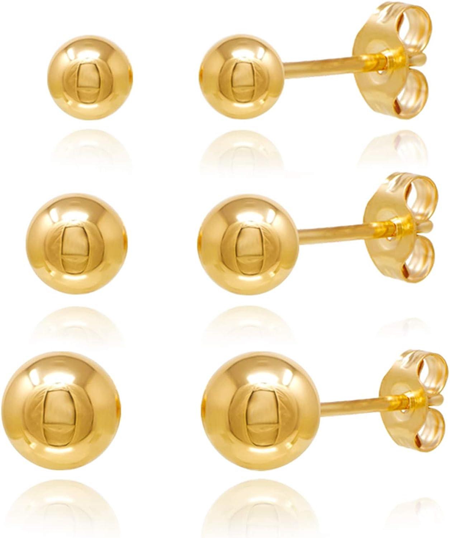 14KT Gold Ball Stud Earrings 3 Pairs Set 3m 4m 5m