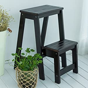 IVHJLP Tier Stairs Stool Solid Wood Folding Ladder Stool Indoor Non-Slip Tread High Ladder Multi-functional Safety Stepladder Stool  55cm White And Deep Walnut  Color Deep walnut
