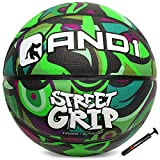 """AND1 Street Grip Premium Composite Basketball & Pump- Official Size 7 (29.5"""") Streetball, Made for Indoor and Outdoor Basketball Games (Green/Olive)"""