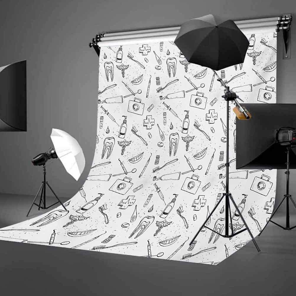 Hand Drawn Style Medical Dental Hygiene Theme Teeth Care Cleaning Background for Kid Baby Boy Girl Artistic Portrait Photo Shoot Studio Props Video Drape Vinyl 8x10 FT Photography Backdrop