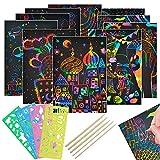SPTwj 50 Piezas de Papel de rasguño Arcoiris + 5 Piezas de lápiz de Madera + 4 Piezas de Plantilla de Arte de combinación de raspador mágico para niños