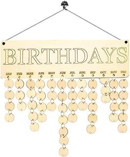 Elevin(TM) Wooden Rustic Chic DIY Calendar Birch Ply Plaque Family Friends Birthday Christmas Reminder Board