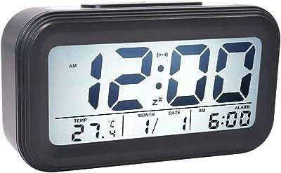 COOJA Reloj Despertador Digital Pilas, Reloj Alarma Despertador Infantil con Luz Snooze Numeros Grandes Temperatura