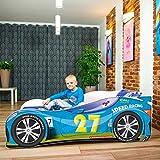 Cama infantil coche de carreras + somier (barandas) + colchón de espuma con cubierta (160 x 80 cm (3-8 años), blue 27)