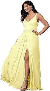 V Neck Split Bridesmaid Dresses Long Chiffon Pleated A line Sleeveless Prom Dress for Women