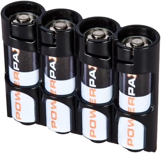 Storacell SLAATB by Powerpax SlimLine AA Battery Caddy, Black, Holds 4 Batteries