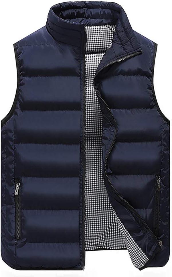 LGQ-HW Men's Lightweight Sleeveless Jacket Gilet Body Warmer Vest Winter Casual Slim Coats Clothing Cotton-Padded Men Waistcoat Big Size (Color : Blue, Size : Medium)