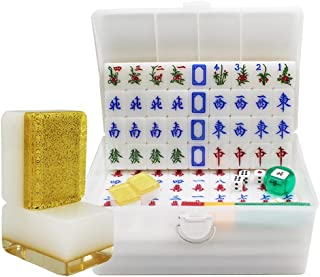Kinesiska Mahjong, 144 plattor Easy-to-Read Game Set, Kinesisk Mahjong Speluppsättning, Presentkort (Color : Gold, Storlek...