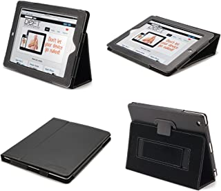 Devicewear Peak iPad 2/3/4 Case: Black Vegan Leather Cover and Flip Stand with Elastic Hand Strap and Magnetic Closure