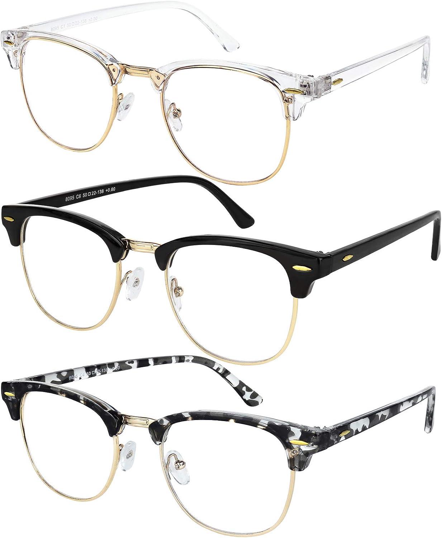 Blue Light Glasses for Men and Women Semi Rimless Half Rim Computer Eyeglasses 3 Pack Crystal Gold, Black Gold, Grey Havana Gold