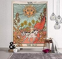 タペストリー タロット太陽と月の柄ブランケットタロットインドの曼荼羅ウォールはスロー95 * 73センチメートルを飾るボヘミアジプシーホームベッドルームハンギング (Color : Yellow, Size : 95cm*73cm)