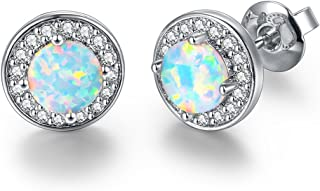 White Gold Plated Opal Stud Earrings Jewelry Gift for Women, Lover, Friends, Mom