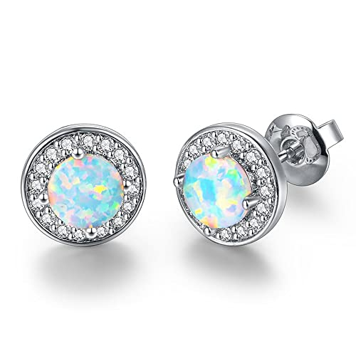 3ebcfbc96 DwearBeauty White Gold Plated Stud Cubic Zirconia and Opal Earrings (Round-Shape  White Gold