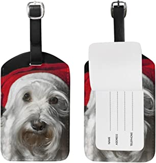 Mydaily Christmas Schnauzer Dog Luggage Tag PU Leather Bag Travel Suitcase Baggage Label