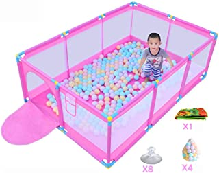 FCXBQ Playground Large playground Baby playground Playground with balls and rugs  safety barrier for toddlers  pink