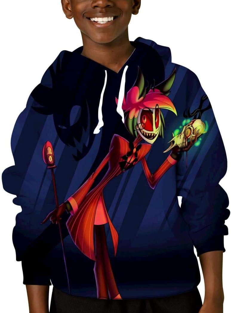 Mmm fight Youth Tops Hooded Hazbin Hotel Hoodies Fashion Sweatshirt for Kids/Boys/Girls