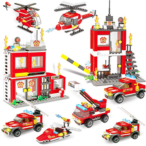 899 Piece City Fire Station & Fire Rescue Tower Building Brick Set with Emergency Vehicle & Helicopter Toy, Storage Box with Baseplates Lid, Popular Firefighter Roleplay Toy Gift for Boys Girls 6-12