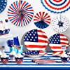 4th of July Party Supplies Pack,Patriotic Decorations include Plates,Flatware Set,Banner,Latex Balloons Set,Foil Balloons,Cupcake Toppers and Wrappers for Independence Day Memorial Day(124Pcs) #5