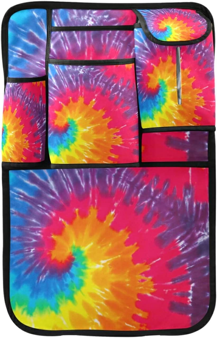 Rainbow Spiral Tie Dye Kick Mats Car Seat Back Protectors,Watercolor Backseat Storage Organizer Car SUV Auto Travel Accessories for Kids