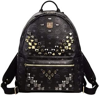 MCM UniSex Black Coated Canvas Medium Studded Backpack