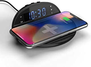 Digital Alarm Clock with Wireless Charging Pad, Compact Qi Wireless Charger with Dual Alarm, Dimmable Display, Snooze, Bed...