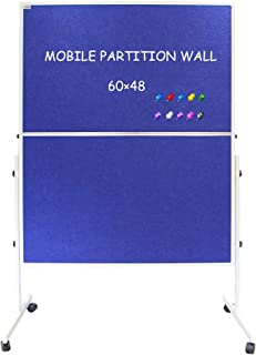 XIWODE Foldable Mobile Room Divider/Office Partition, Double Sided Blue Fabric Bulletin Board on Wheels Rolling with Stand, 60 x 48 Inches, 10 Colorful Push Pins Included for Display and Presentation