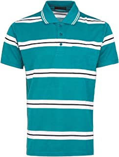 Activewear Striped T-Shirt for Men Short Sleeve Contrast Collar with Pocket 100% Polyester Casual Tops Blouse